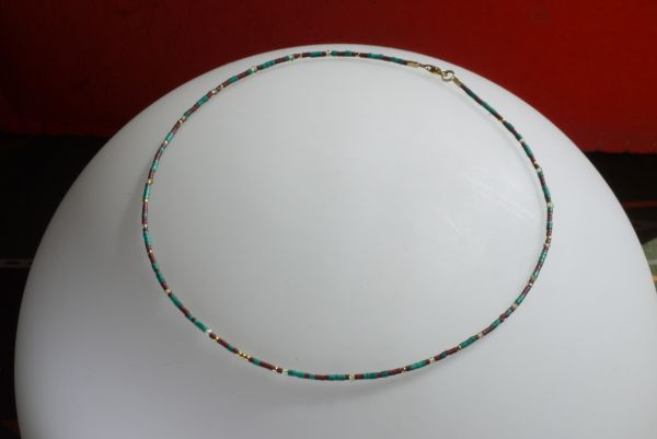 Kette Malachit/Peridot/r Jaspis/925%AGvergoldet