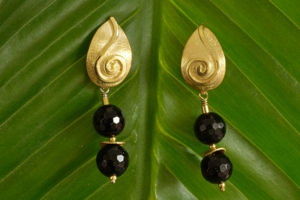 Ohrringe Onyx/925% Silber Goldplattiert