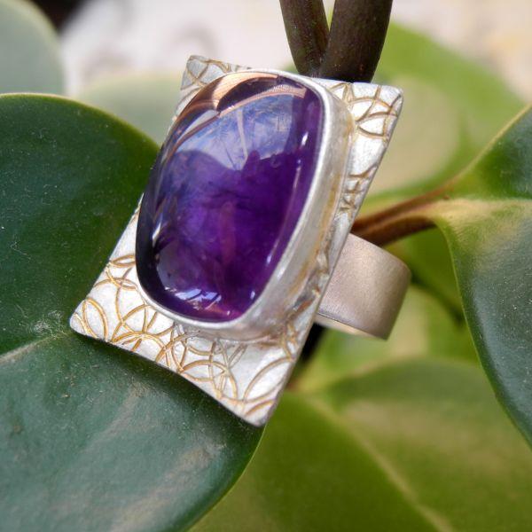 Ring Amethyst/925% Silber/teilvergoldet