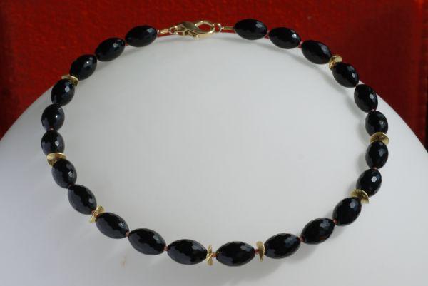 Kette Onyx/Granat/925%AGvergoldet